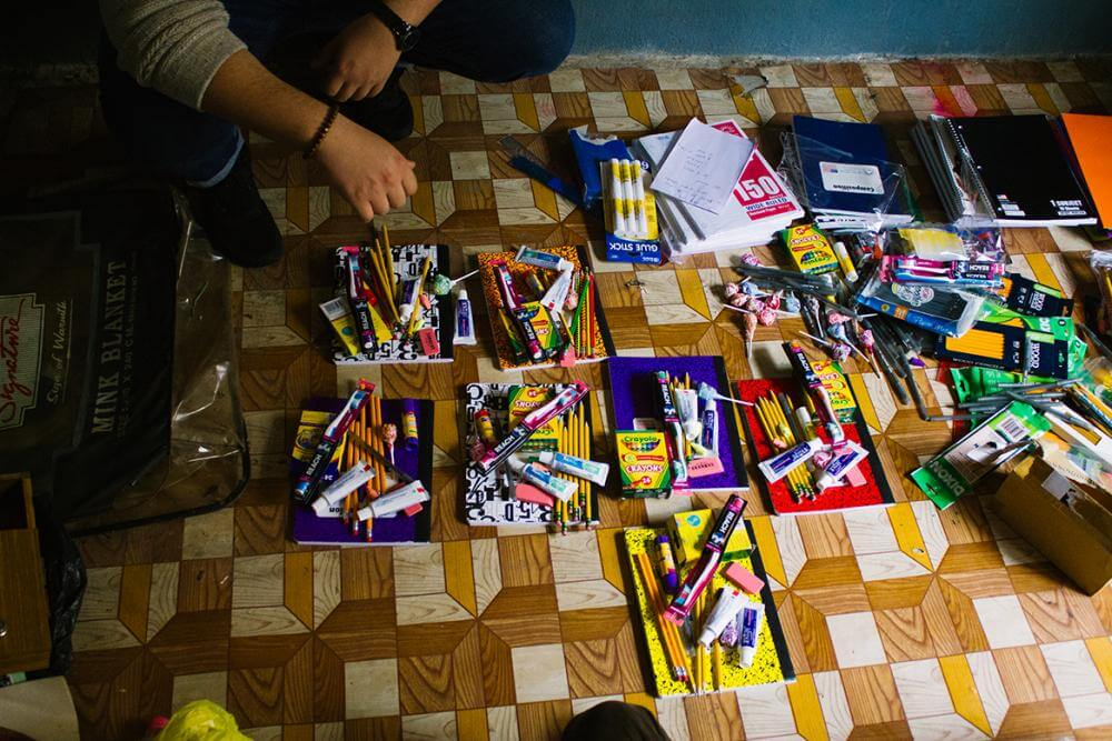 collected school supplies