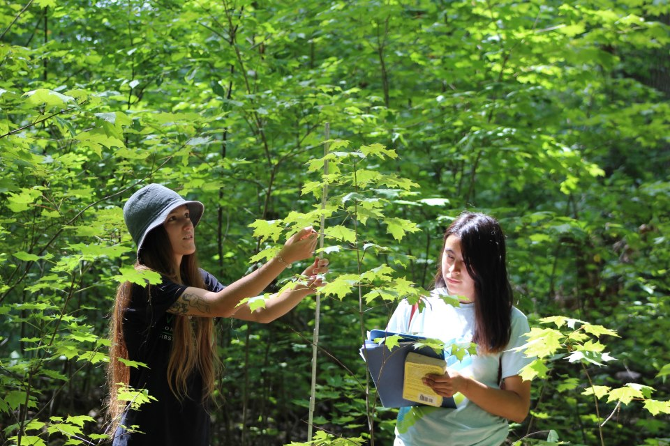 2 female students working outside on environmental project