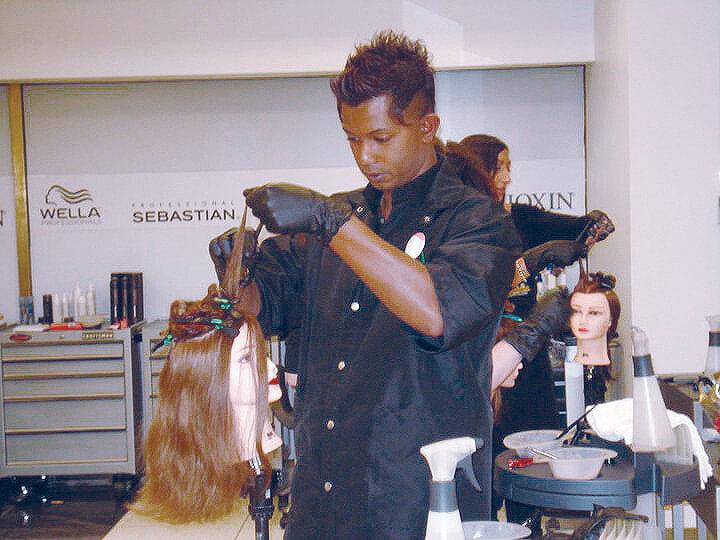 Cutting Hair in Barber School