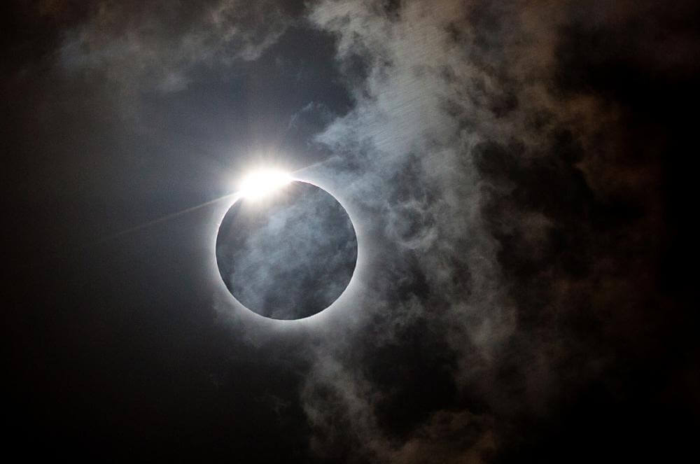 Diamond ring effect in eclipse