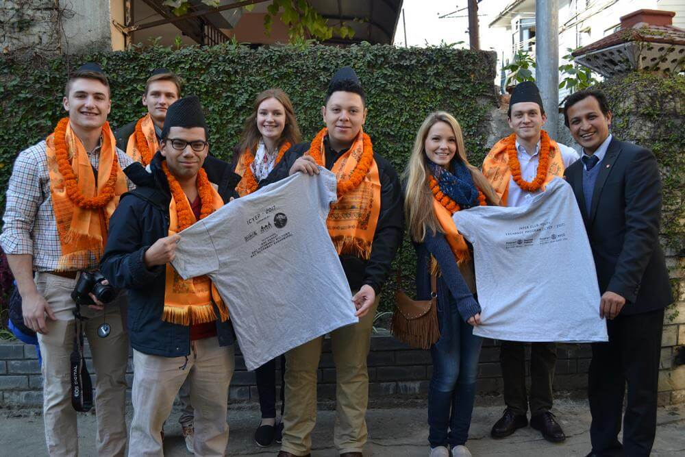 students in nepal with t-shirts