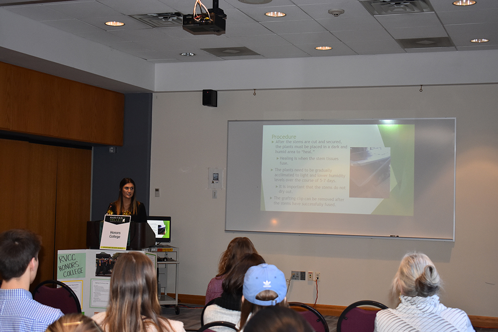 honors college female student presentation
