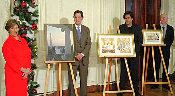 author with first lady bush and others with easels