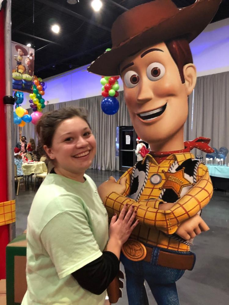 jaime stramaglia with gian Woody from Toy Story