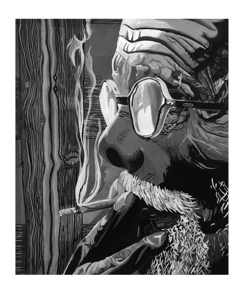 old man smoking artwork