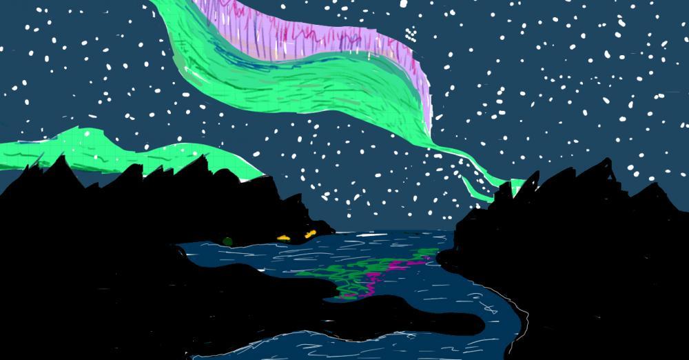 aurora night sky artwork