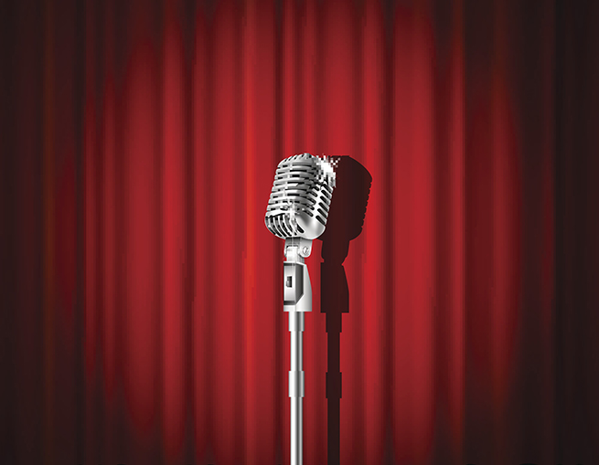 microphone with red curtain