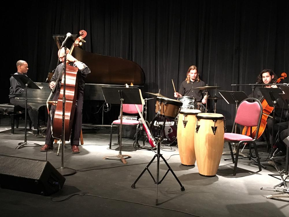small musical ensemble with drums and bass