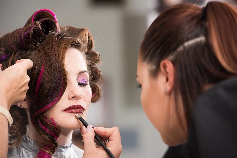 closeup on makeup application