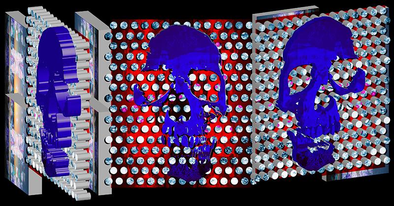 artwork in 3 panels with purple skulls