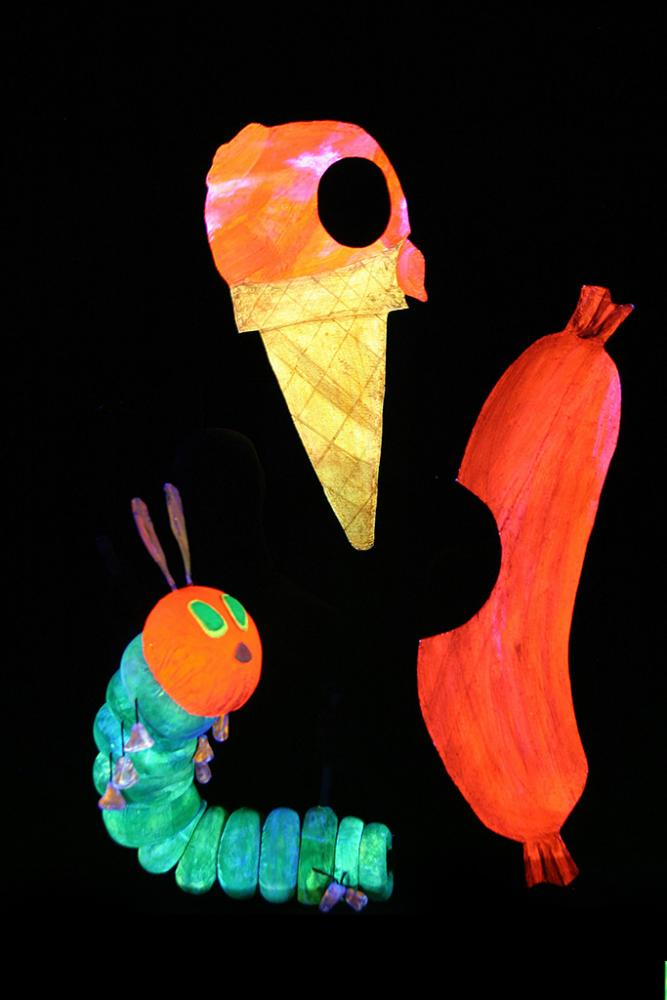 bites out of ice cream cone, caterpillar