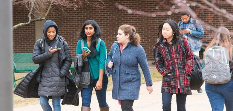 female students walking