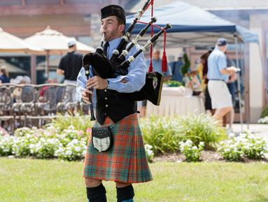 Bagpiper Sean Dalgauer sends the golfers on their way at the 2016 Golf Classic which raised over $166,000 to benefit the RVCC Foundation.