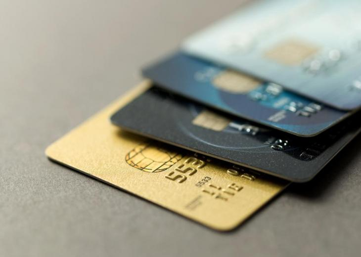 close up view of 4 credit cards
