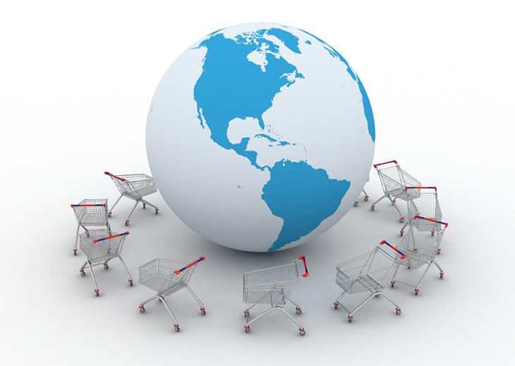 globe with shopping carts