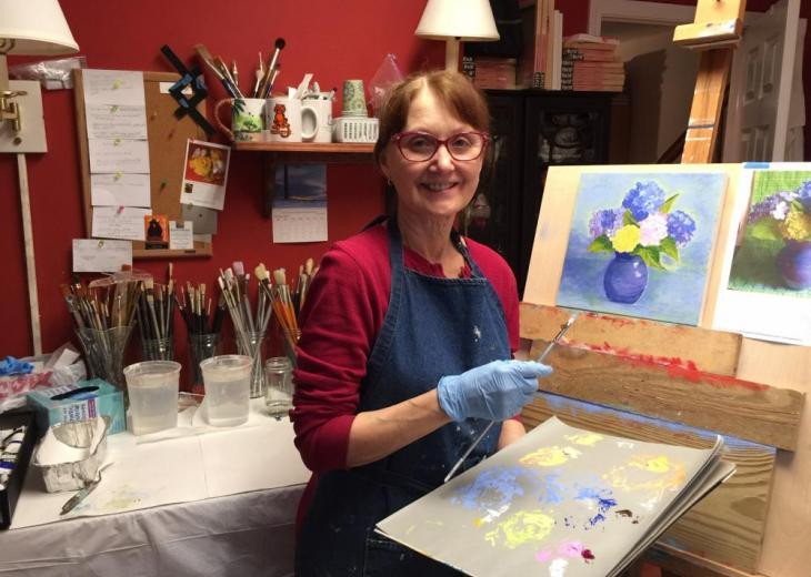 karen hartl in her art studio