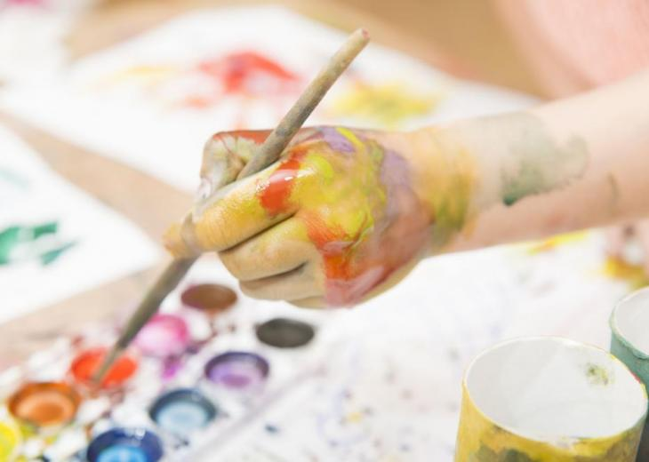 child painting in watercolor