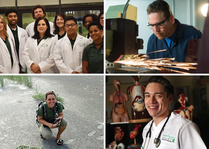 four photos of students, one group in lab coats