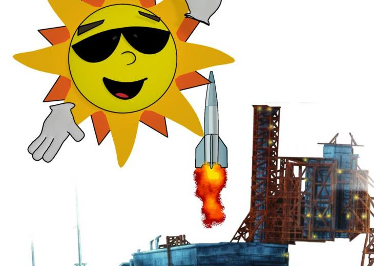 graphic image of sun and rocket launch