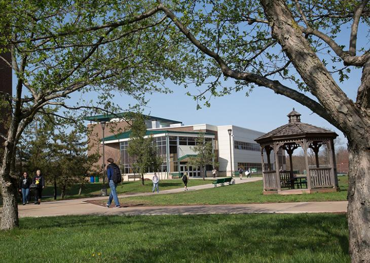 photo of outside of campus with gazebo in background