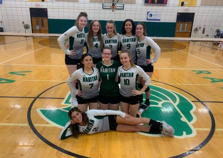 rvcc women's volleyball team in gym