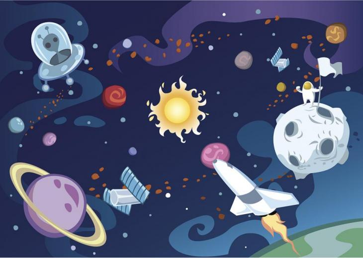 childlike illustration of space