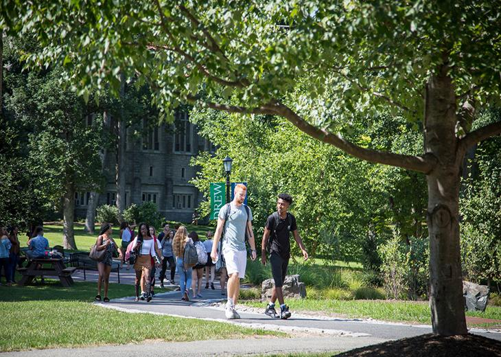 students walking on Drew campus