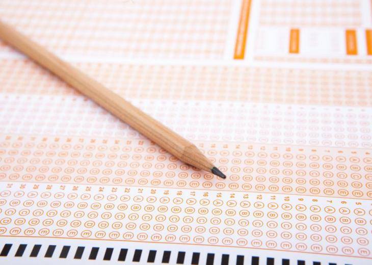 pencil with standardized test sheet