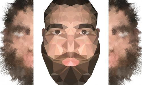 3 images showing whole and halves of bearded man's head