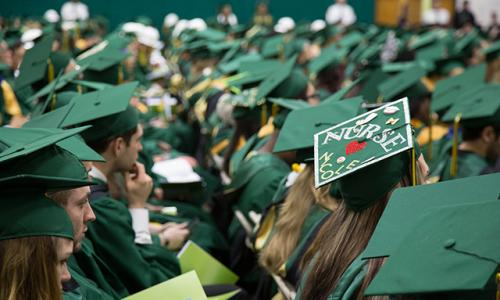 tops of grad heads