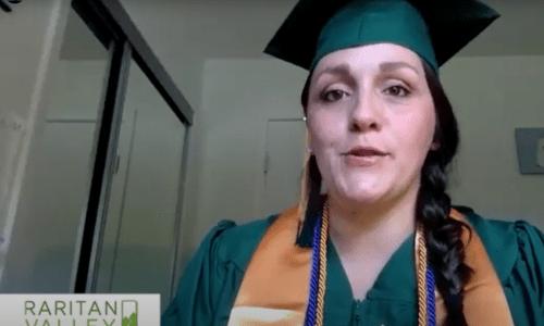 screen shot of student commencement speaker video