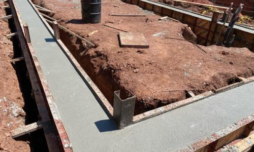 concrete poured for greenhouse