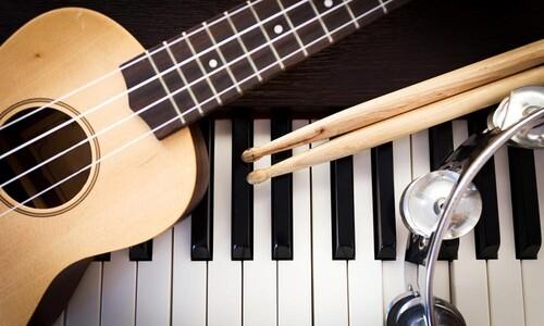 guitar, piano, tambourine, drumsticks