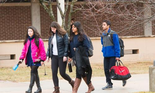 group of students walking outside