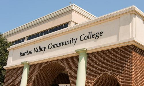 side view of detail of rvcc name above arches