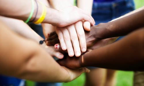 hands showing unity