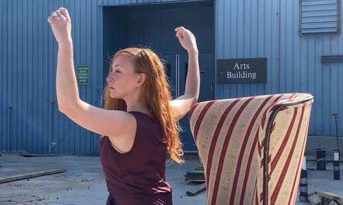 lauren beirne dancing outside arts building