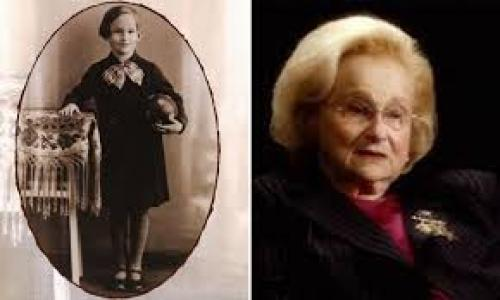 old photo and headshot of margit feldman