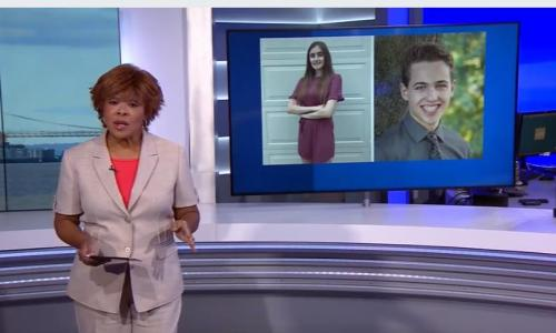 della crews news 12 with images of 2 rvcc students on screen