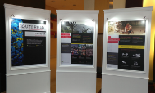 3 panels of Outbreak museum exhibit