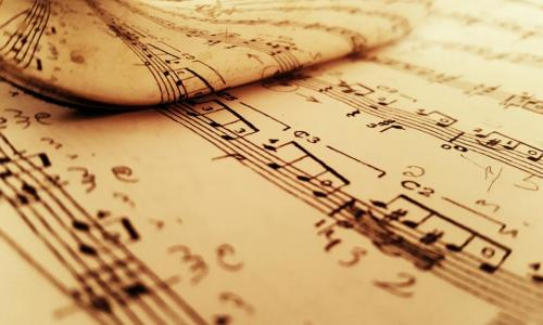 reflected sheet music