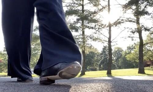 lower legs and feet walking outside