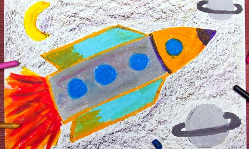 children's drawing of rocket in space