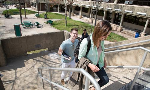 students walking up steps outside
