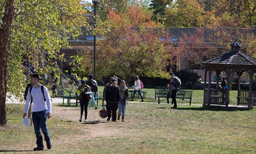students walking outside with autumn trees