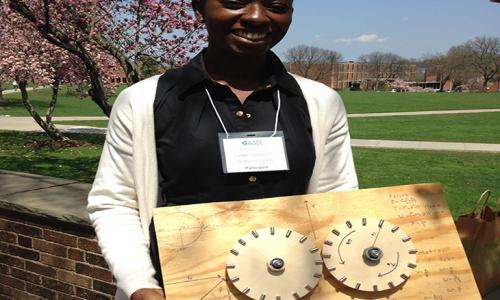 Esther Hiamang with gears