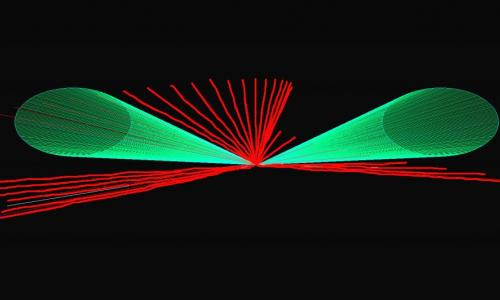 green and red planetarium laser image