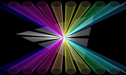 new laser image with purple and green