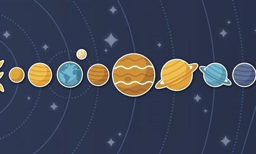 rectangular lineup of planets