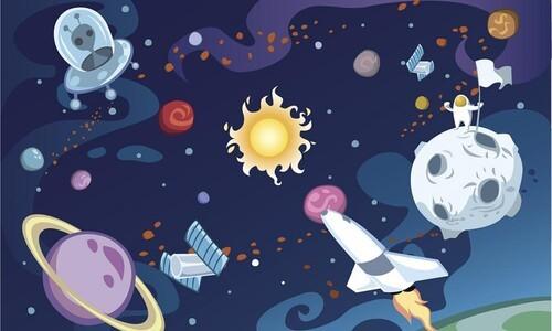 childlike illustration of space